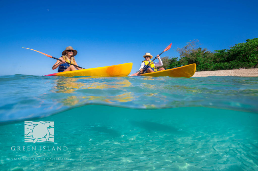 Explore the Island at your own pace on a kayak. Image courtesy of Green Island Resort.