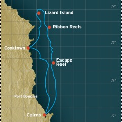 4 Night Great Barrier Reef Cruise Map