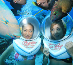 A great way to see the marine life at Green Island is helmet diving