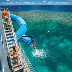 Adult fun on the Great Barrier Reef off Cairns - Waterslide