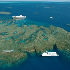 Aerail view of Great Barrier Reef tour submarine and pontoon off Cairns