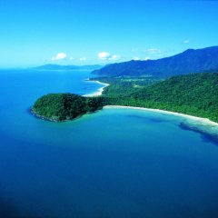 Aerial view Cape Tribulation on Cairns scenic flights