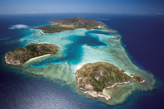 Aerial view islands around Lizard Island