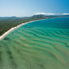 Aerial view of Cooktown and the coastline