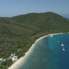 Aerial view of Fitzroy Island on the Great Barrier Reef off Cairns