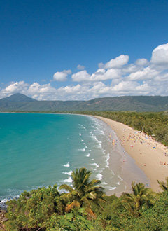 Aerial view of Four Mile Beach in Port Douglas Australia