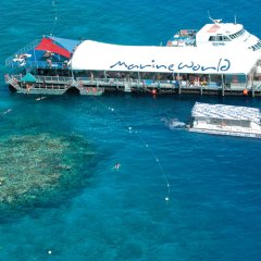 Aerial view of Great Barrier Reef Tour pontoon off Cairns