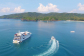 Aerial view of Great Barrier Reef cruise ship