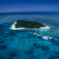 Aerial view of Green Island on the Great Barrier Reef from helicopter