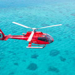 Aerial view of helicopter on a scenic flight over the Great Barrier Reef