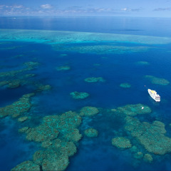 Aerial view of our liveaboard dive boat on the Great Barrier Reef