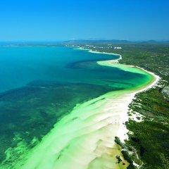 Aerial view of Queensland coastline