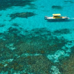 Aerial view of semi-submersible submarine on the Great Barrier Reef at Green Island