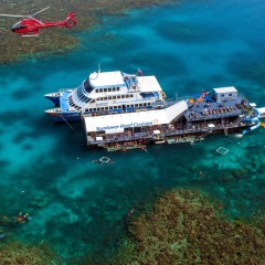 Aerial view of the boat and the floatiing pontoon on Moore Reef off Cairns