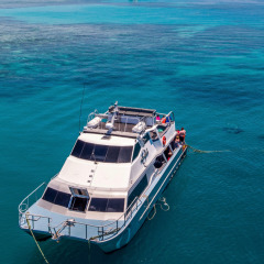 Aerial view of the boat on the Great Barrier Reef