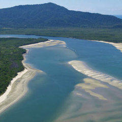 Aerial view of the Daintree River in Cape Tribulation