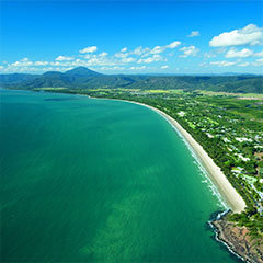 Aerial view of the Port Douglas coastline and the Great Barrier Reef