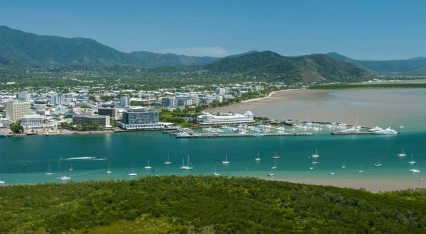 Aerial view of Trinity Inlet from your helicopter seat in Cairns