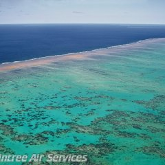 Aerial view outer edges of Great Barrier Reef