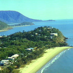 Aerial view over Yorkey's Knob in Cairns