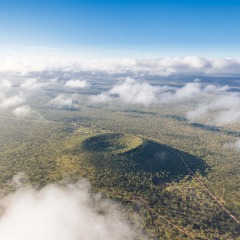 Aerial viewl of Kalkani Volocan crater