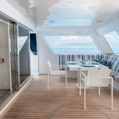 Aft relaxation areas for casual meals - Port Douglas Superyacht - Great Barrier Reef