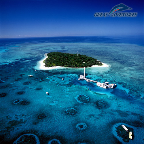 Ariel view Green Island Great Adventures Cruises on the Great Barrier Reef in Queensland Australia
