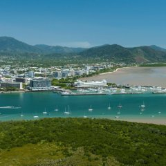 Ariel view of Cairns city and the bumper tube ride alley