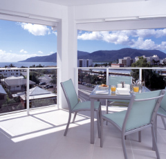 Balcony with Cairns City Views at 201 Lake St Holiday Apartments Cairns