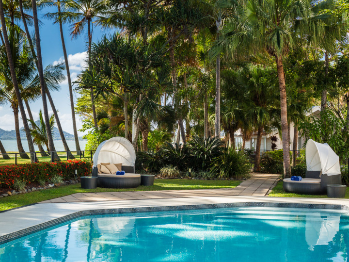 Beachfront (Adults Only) Swimming Pool under the Palm trees on Palm Cove Beach - Alamanda Palm Cove Resort & Spa