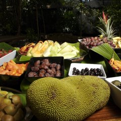 Beautiful tropical fruits for breakfast at Breakfast with the Birds Wildlife Habitat Port Douglas