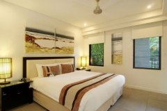 Bedroom Area in the private Holiday Apartments at Sea Temple Port Douglas