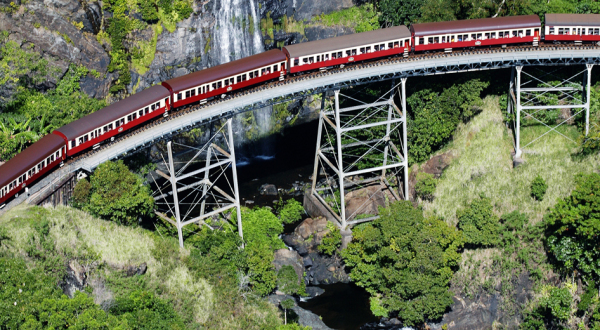 Bird's-eye view of Kuranda Train and Scenic Railway in Cairns