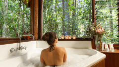 Rainforest Treehouse each with a luxurious Spa Bath with Rainforest Views - Rainforest Treehouse Accommodation on Cairns Tablelands