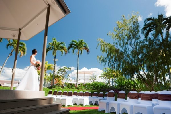 Bride on Gazebo Steps - Pullman Cairns International Hotel