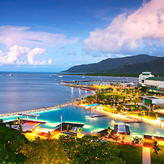 Cairns city aerial view at night - Cairns Holiday Specialists