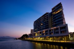 The exterior view of Cairns Harbour Lights Hotel at Night