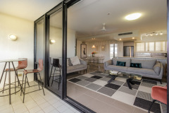 Spacious living & Balcony - Cairns North Shore Towers Private Apartment