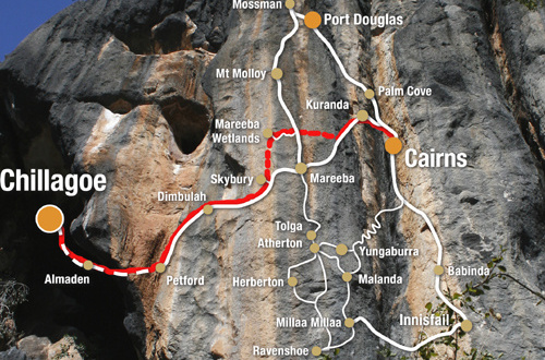 Cairns to Chillagoe Caves tour map