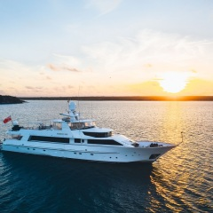 Charter Yacht Port Douglas - Superyacht at Anchor on Sunset