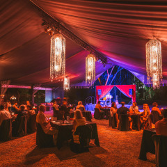Comfortable Inside Of The Marquee | Black Silk Lined Marquee With Crystal & Bud Light Chandeliers