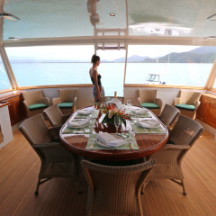 Comfortable saloon seating on charter boat