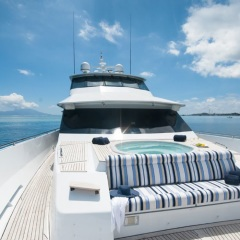 Comfortable seating on the bow of the Superyacht on the Great Barrier Reef