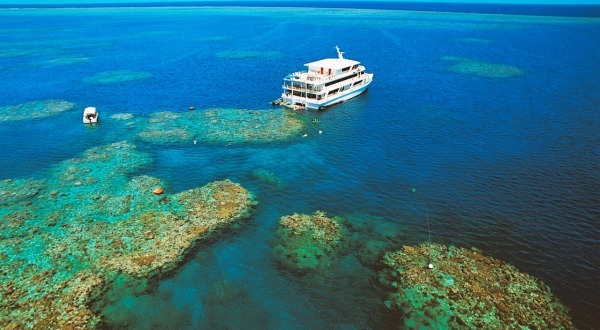 Aerial View Great Barrier Reef Cruise Ship moored on the Reef