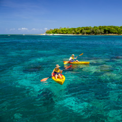 Couple kayaking around Green Island
