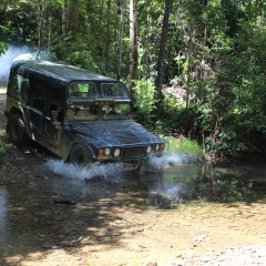 Creek Crossing in the Hummer 4WD in Kuranda behind Cairns