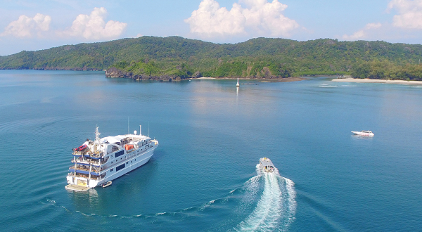 Cruise Ship Tours Cairns - Aerial View of Small Cruise Ship