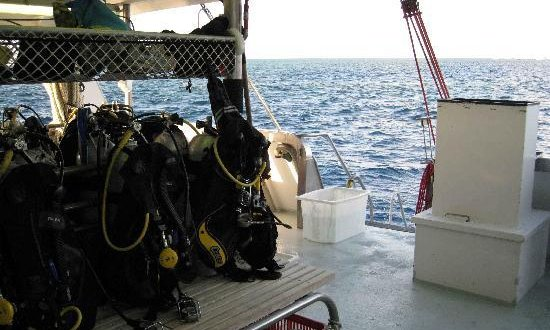 Dive equipment on liveaboard reef tour