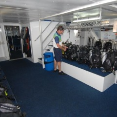 Dive tank station on board reef boat | Great Barrier Reef Tour