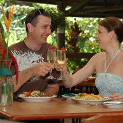 Enjoy a barbeque luncheon at Rainforestation Nature Park